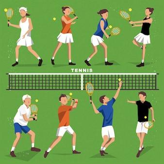 Gracze w tenisa kolekcjonują letnie wydarzenie w stylu płaski