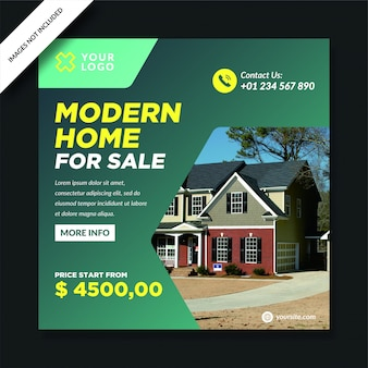 Gradacja tła nowoczesna sprzedaż domu social media post