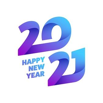 Gradient 2021 szczęśliwego nowego roku tekst na białym tle