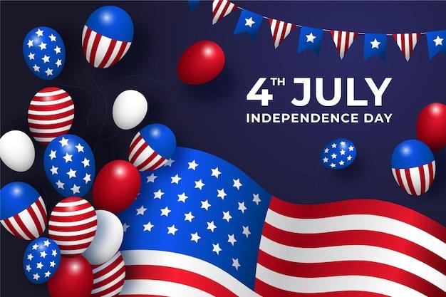 Gradient 4 lipca dzień niepodległości balony tło