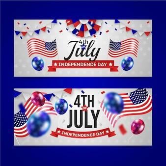 Gradient 4 lipca - zestaw banerów dzień niepodległości