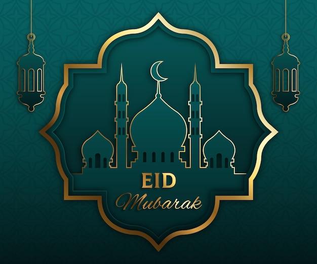 Gradient eid al-fitr - ilustracja eid mubarak