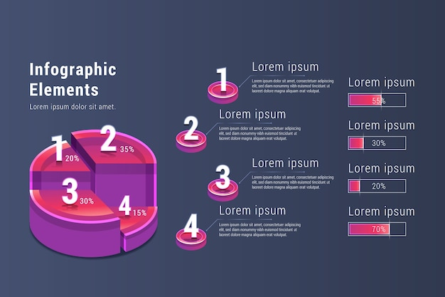 Gradient elementów infographic