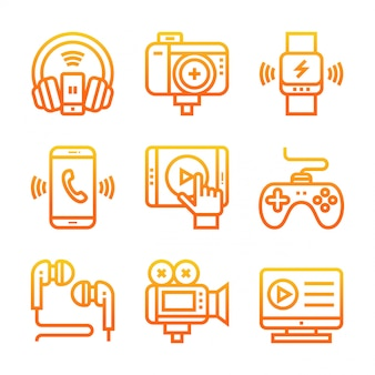 Gradient ikona elektronicznej linii