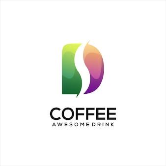 Gradient ilustracja logo kawy kolorowe