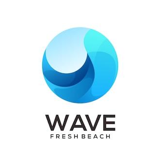Gradient ilustracji logo fali na plaży