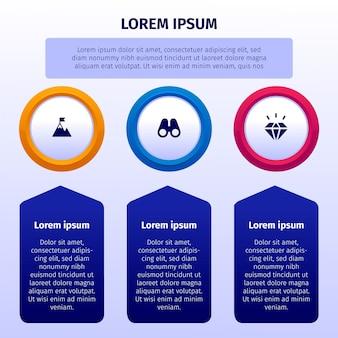Gradient infografiki naszej misji ze szczegółami
