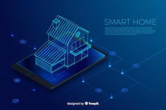 Gradient inteligentnego domu izometryczny technologia tło