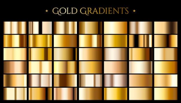 Gradient koloru złota, zestaw abstrakcyjnych metalicznych