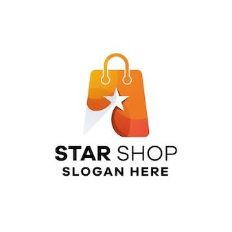 Gradient logo design star shop