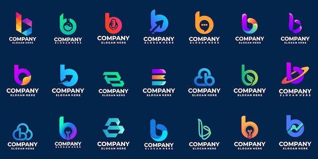 Gradient logo litery b logo, kolekcja logo