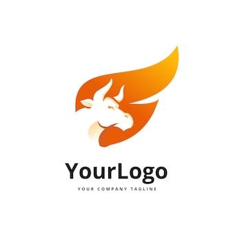Gradient logo ognia i byka wektor premium