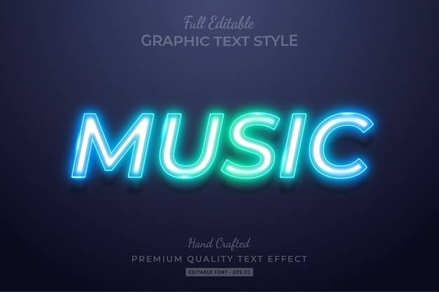 Gradient neon music edytowalny niestandardowy efekt stylu tekstu premium