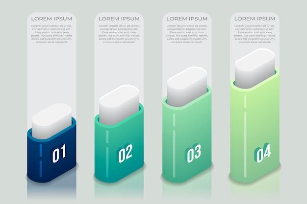 Gradient niebieski izometryczny infographic szablon