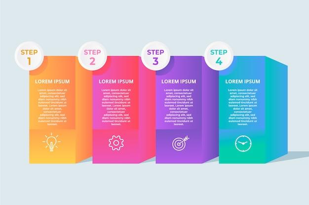 Gradient szablon infographic kroki