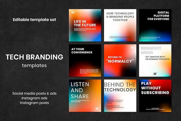 Gradient tech marketing szablon wektor zestaw postów w mediach społecznościowych