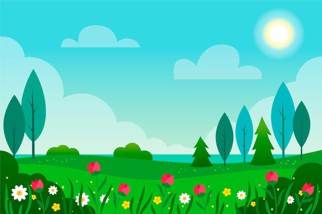 Gradient wiosenny krajobraz z kwiatami