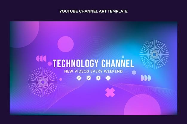 Gradientowa abstrakcyjna technologia płynna grafika kanału youtube