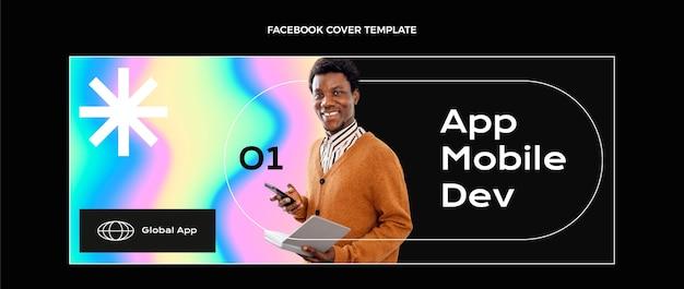 Gradientowa abstrakcyjna technologia płynów okładka na facebooku