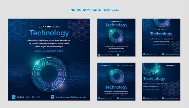 Gradientowa abstrakcyjna technologia post na instagramie
