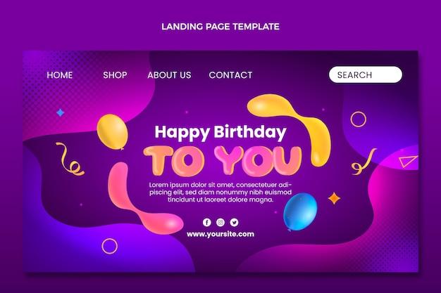 Gradientowa abstrakcyjna urodzinowa strona docelowa płynów
