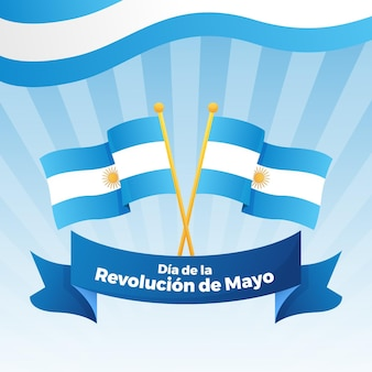 Gradientowa argentyńska ilustracja dia de la revolucion de mayo