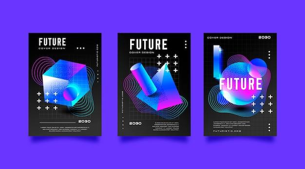 Gradientowa, futurystyczna kolekcja okładek o abstrakcyjnych kształtach