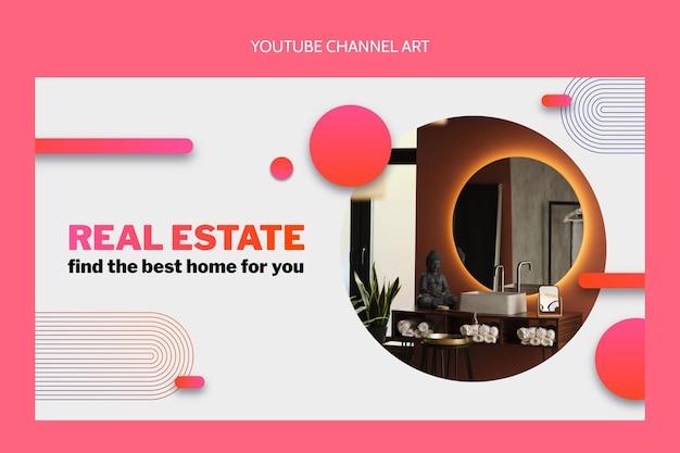 Gradientowa grafika kanału youtube dotycząca nieruchomości