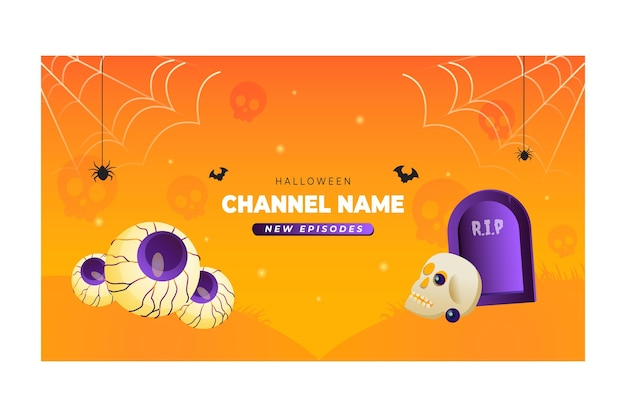 Gradientowa grafika kanału youtube na halloween