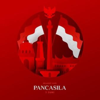 Gradientowa ilustracja dnia pancasila
