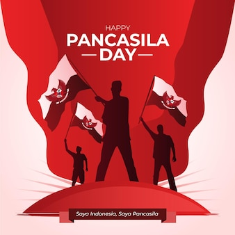 Gradientowa Ilustracja Dnia Pancasila Premium Wektorów