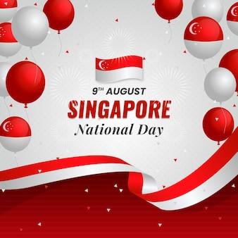 Gradientowa ilustracja święta narodowego singapuru