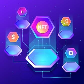 Gradientowa ilustrowana koncepcja nft