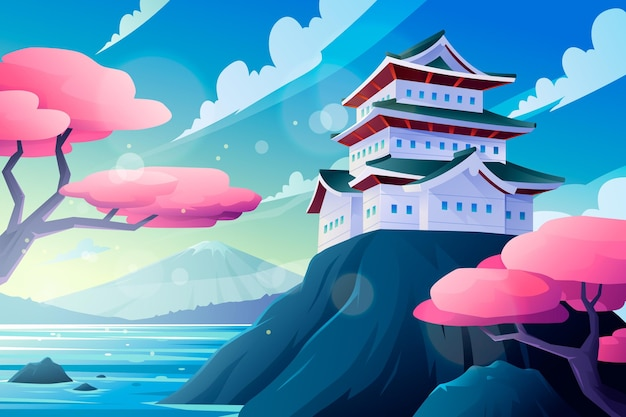 Gradientowa japońska świątynia na skale otoczonej wodą