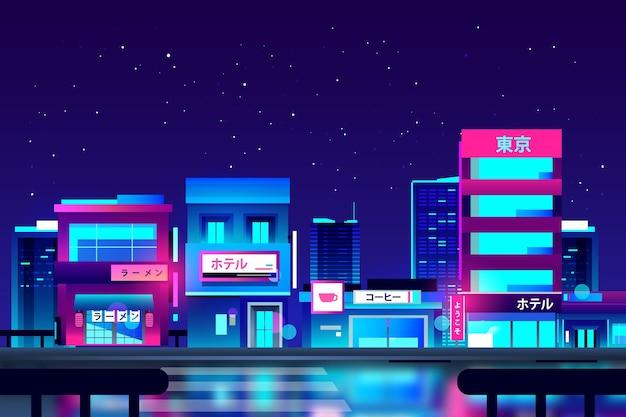 Gradientowa japońska ulica w neonowych kolorach