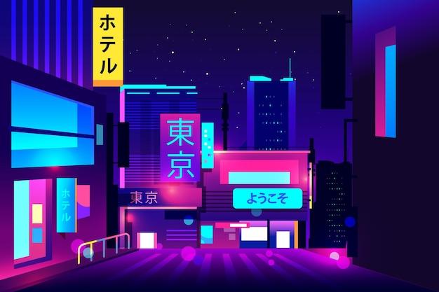 Gradientowa japońska ulica w nocy