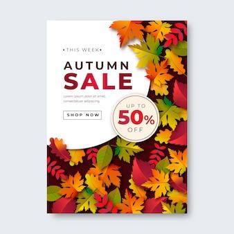 Gradientowa jesienna sprzedaż pionowy plakat szablon