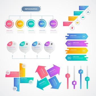 Gradientowa kolekcja elementów infografiki