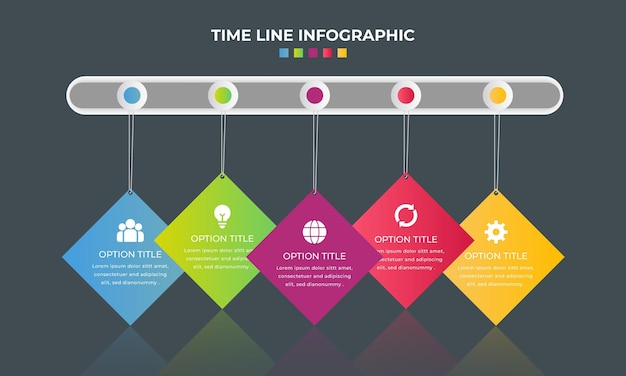 Gradientowa kolekcja elementów infographic linii czasu