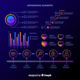 Gradientowa kolekcja elementów infographic