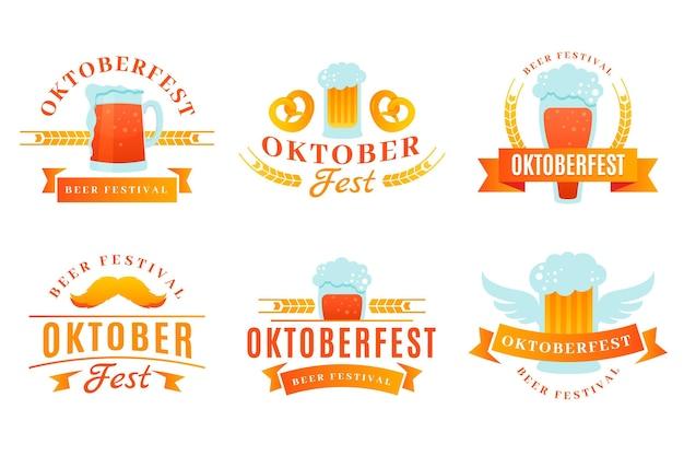 Gradientowa kolekcja etykiet oktoberfest