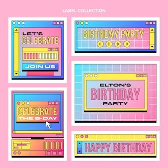 Gradientowa kolekcja etykiet urodzinowych w stylu retro vaporwave