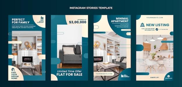 Gradientowa kolekcja historii nieruchomości na instagramie