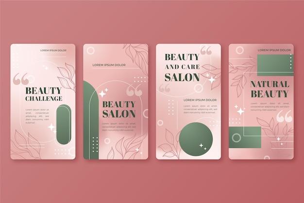 Gradientowa kolekcja historii urody na instagramie beauty