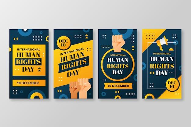 Gradientowa kolekcja historii z okazji międzynarodowego dnia praw człowieka na instagramie