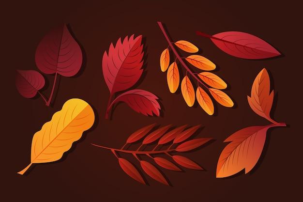 Gradientowa kolekcja jesiennych liści
