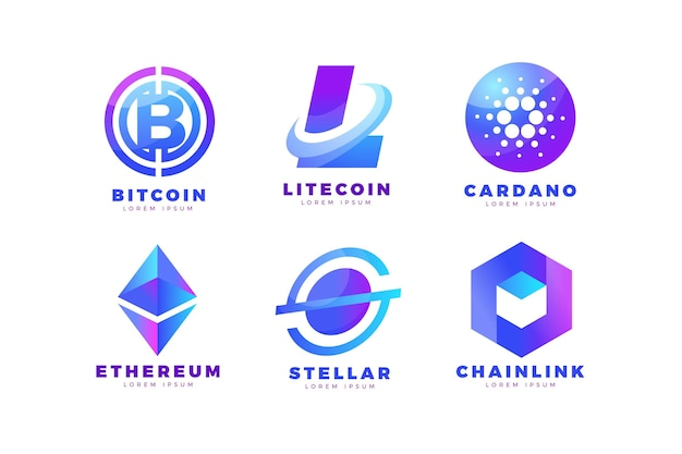 Gradientowa kolekcja logo bitcoin