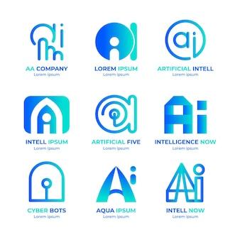 Gradientowa kolekcja logo sztucznej inteligencji