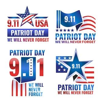Gradientowa kolekcja odznak dnia patrioty 9.11