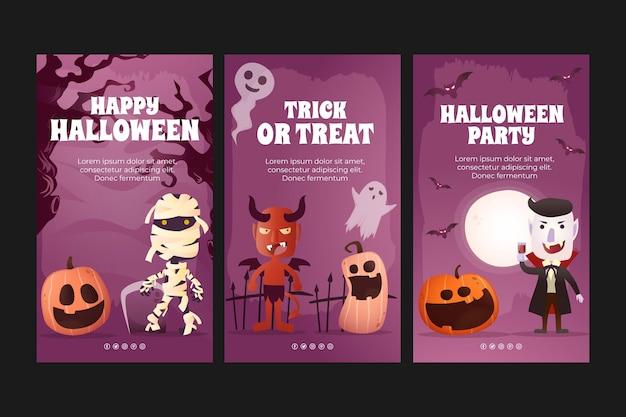 Gradientowa kolekcja opowiadań halloweenowych na instagramie